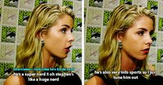 Emily Bett about Stephen Amell #SDCC #CWSDCC 2015