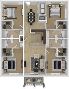 Gallery Decoration 4 Bedroom Apartments Luxury Four Bedroom Ccu Conway Student Housing Close To Campus Sims House Plans, House Layout Plans, Dream House Plans, Small House Plans, House Layouts, House Floor Plans, Apartment Floor Plans, Bungalow Floor Plans, Sims House Design