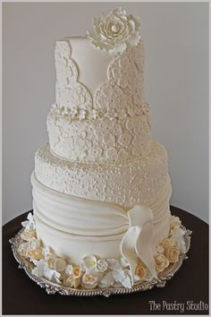 Custom Wedding Cake inspired by Designer Wedding Gown ~ The Pastry
