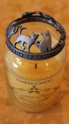 Yankee Candle Illuma Lid Jar Candle Topper Cats EUC CANDLE NOT INCLUDED #YankeeCandle