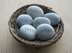 Personalized engraved gift - Mom's Nest - Set of 6 name stones in bird nest. $78.00, via Etsy. Get with birth and miscarriage dates in assorted colours