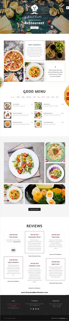 GoodResto is a clean and modern design 9in1 responsive WordPress #template for beautiful #Italian #restaurant, cafe and bakery #website to download & live preview click on image or Visit 🡽 #webdev Website Layout, Web Layout, Font Sites, Menu Book, Custom Icons, Custom Website, Wordpress Theme, Wordpress Template, Menu Restaurant