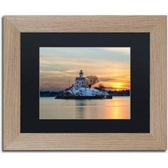 Trademark Fine Art Pomham Rocks Sunset Canvas Art by Michael Blanchette Photography Black Matte, Birch Frame, Assorted