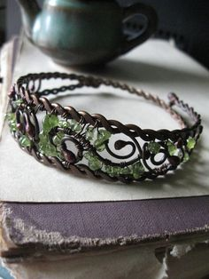 Wire Wrapped Bracelet made of Copper and peridot  by Lirimaer, $39.00