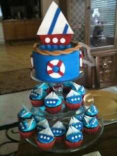 nautical cupcakes with smash cake on top
