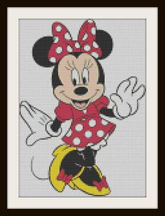 Items op Etsy die op Minnie Mouse Inspired Cross Stitch Pattern lijken