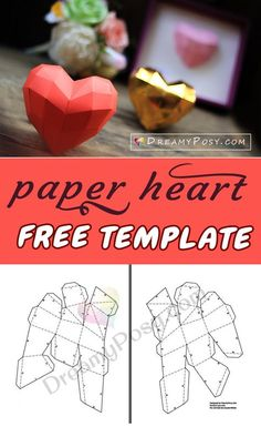 Paper heart with free template and tutorial #paperheart #heart #3dheart #freeprintable
