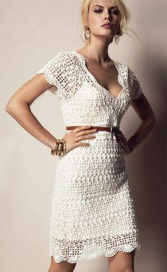 Летнее платье ажурным узором схема. Белое платье с кружевным декольте связанное крючком