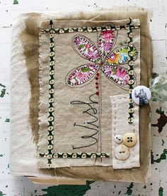 fabric art journal by Rebecca Sower Art Journaling, Sewing Crafts, Sewing Projects, Fabric Postcards, Prayer Flags, Fabric Journals, Art Journal Inspiration, Hallway Inspiration, Journal Ideas