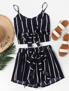 Shop Knot Front Striped Cami Top With Shorts online. SheIn offers Knot Front Striped Cami Top With Shorts & more to fit your fashionable needs. Black Dress Outfits, Casual Skirt Outfits, 2 Piece Outfits, Two Piece Outfit, Polyvore Outfits, Polyvore Dress, Striped Cami Tops, Mode Rock, Cute Lazy Outfits