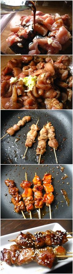 Tapas- Skewered Honey-Balsamic Chicken Ingredients 2 TBS balsamic vinegar 2 TBS Worcestershire sauce 2 tsp onion powder kosher salt to taste 2 Tbs honey 1 tsp pepper( or to taste) 2 garlic cloves, crushed. Tapas Recipes, Asian Recipes, Cooking Recipes, Healthy Recipes, Recipies, Honey Balsamic Chicken, Balsamic Onions, Balsamic Glaze, Snacks