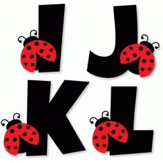 Silhouette Design Store: Ladybug Alphabet - I J K L Ladybug Crafts, Ladybug Party, Ladybug Decor, Diy And Crafts, Crafts For Kids, Paper Crafts, Alphabet Templates, Alphabet And Numbers, Silhouette Design