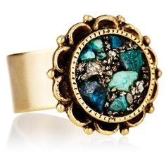 997254901a Check out this item at One Kings Lane! Brass Round Ornate Ring, Crizocole  Turquoise