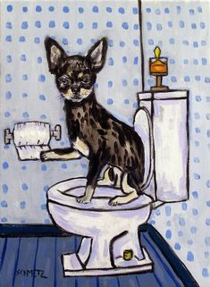 squirrel Plunging a toilet animal art  4x6  GLOSSY PRINT impressionism