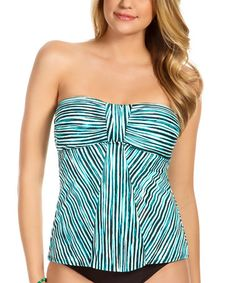 Look what I found on #zulily! Teal & White Stripe Strapless Tankini Top #zulilyfinds