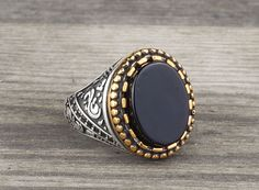 925 K Sterling Silver Man Ring Natural Black Onyx Gemstone 10 US Size #Handmade #Statement