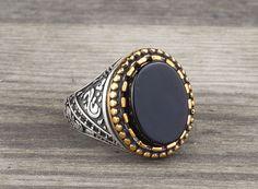 925 K Sterling Silver Man Ring Natural Black Onyx Gemstone 10 US Size #Handmade #Statement