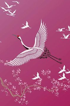 Large Flying Cranes Bird Stencil Chinese Painting, Chinese Art, Era Edo, Bird Stencil, Crane Bird, Japanese Patterns, Bird Illustration, Japan Art, Bird Art