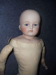 """11.5"""" Bisque German Doll Alt, Beck , & Gottschalck bald headset glass eyes 639"""