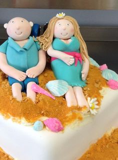 A Beach Wedding - Custom Bride & Groom Topper modelled by Coast Cakes Ltd