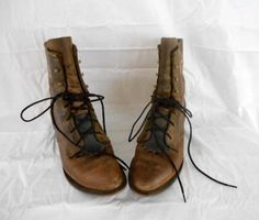 Vintage brown Leather lace up Boots by houuseofwren on Etsy