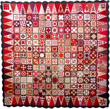'dear jane' quilt in red and white