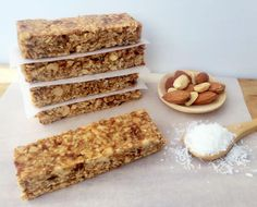Snack Attack Healthy And Chewy Coconut Oat Bars is part of Healthy mummy recipes - Read our delicious recipe for Chewy Coconut Oat Bars, a recipe from The Healthy Mummy, which is a safe and yummy way to lose weight Healthy Mummy Recipes, Healthy Snack Bars, Healthy Sweets, Vegan Snacks, Healthy Baking, Yummy Snacks, Baby Food Recipes, Sweet Recipes, Whole Food Recipes