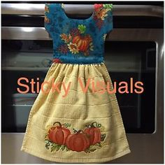 "Oven Door Towel Decorative Hand Made Kitchen Towel  >>>>>> FREE SHIPPING <<<<<<  with Embroidered Fall Pumpkins Design on Towel.     Brand New.  This is a Large Embroidery design. About 4""tall and 8"" wide.   About 49k Stitches. Very detailed.  Colors: Harvest Gold Towel, Fabric on top is Fall Pumpkins leaves and gold glitter.  Great for a Gift !!!!!!  100% Cotton Towel.    Towel is 2 Sided, Both sides can be used (Embroidery is only on one side)  No snag Velcro is used to hold the towel…"