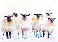 JEN BUCKLEY signed LIMITED EDITON PRINT of my original 6 Black faced SHEEP - Jen Buckley Art - 1