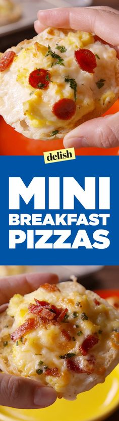 English muffin fans, these Mini Breakfast Pizzas are for you. Get the recipe on http://Delish.com.