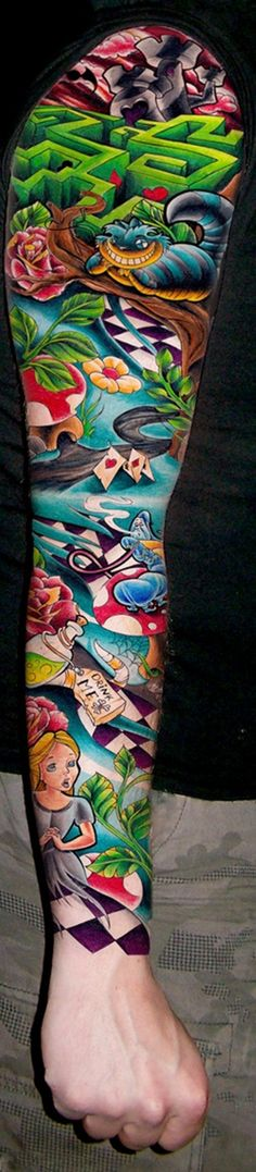 """I have been planning an """"Alice in Wonderland"""" themed tattoo sleeve for years & this one is AWESOME!! ! (Likely placement is on one of my legs since that would give me more """"canvas"""" space & I already have other sleeves planned for both arms.)"""