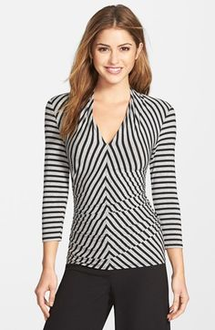 Vince Camuto Shoulder Pleat V-Neck Stretch Knit Top (Regular & Petite) available at #Nordstrom #workclothes