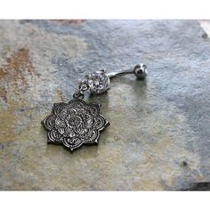 Mandala Flower Belly Button Ring, Swarovski Crystal Dangle Naval... (190 SEK) ❤ liked on Polyvore featuring jewelry, surgical steel jewelry, belly rings jewelry, blossom jewelry, belly button rings jewelry and swarovski crystal jewelry