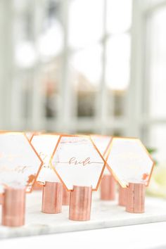 Copper & Marble glamorous wedding place cards