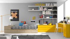 Habitación juvenil con la zona estudio en color amarillo