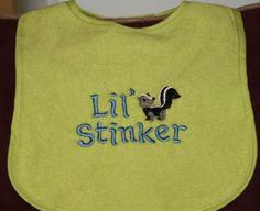Lil Stinker Machine embroidered bib