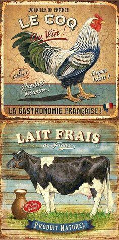 Cow and rooster Vintage Diy, Decoupage Vintage, Decoupage Paper, Vintage Labels, Vintage Postcards, Vintage Signs, Vintage Pictures, Vintage Images, Etiquette Vintage