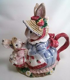 FITZ and FLOYD Bunny Bonnet Hill Teapot - 1992 With Box Easter Rabbit Decor