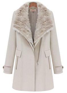 Abrigo+con+chaleco+desmontable+de+collar+ancho+pelaje-Beige+EUR€99.44