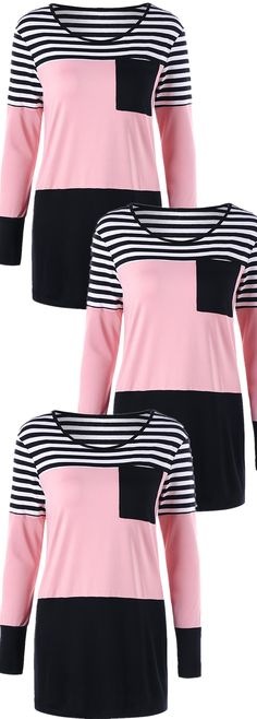 Patch Pocket Striped Slim Tunic Top