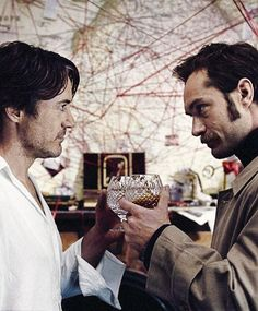 "and Jude Law -- ""Sherlock Holmes: A Game of Shadows"") Sherlock Holmes Robert Downey, Sherlock Holmes 3, Robert Downey Jr., Jude Law, John Watson, Warner Bros Movies, Holmes Movie, Literary Characters, Guy Ritchie"
