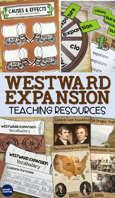 Westward Expansion - Complete Unit with Teaching Power Point Social Studies Projects, 4th Grade Social Studies, Social Studies Classroom, Social Studies Activities, History Classroom, Teaching Social Studies, Writing Activities, Teaching Resources, Creative Activities