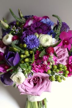 Jewel Toned Purple, Fuchsia and Blue Bridal Bouquet