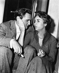 Dennis Hopper and Elizabeth Taylor on the set of Giant.