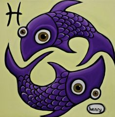 beautiful acrylic painting of the astrology zodiac pisces sign!!! One of my favorite signs of them all
