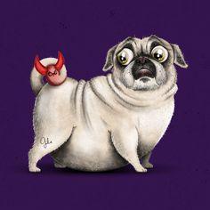 Animals Huge Compilation On Behance Pug Cartoon Cute Pugs Pugs