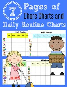 Free Printable Chore Charts for Kids - 5 Daily Routine Charts and 2 Pages of Chore Charts. I've also included a blank template with chore and routine pieces