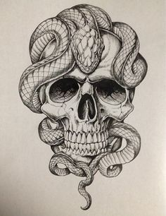 And Snake Tattoo Tattoos Piercings Jetzt kaufen! Snake Tattoos … And Snake Tattoo Tattoos Piercings Get it now! Skull Tattoo Design, Skull Tattoos, Body Art Tattoos, Sleeve Tattoos, Tattoo Designs, Tatoos, Men Tattoos, Skull Design, Snake Sketch