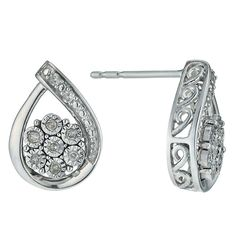 Argentium Silver Illusion Set Diamond Earrings - Product number 9921184