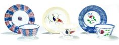 Garth's 5/14/16 Lot 579.  Estimate: $ 250 - 450.  Realized: $600.   Description: THREE SPATTERWARE HANDLELESS CUPS AND SAUCERS.  England, 2nd quarter-19th century. Blue and red rainbow (saucer flakes), blue with tulip center, and yellow with peafowl.